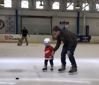 Jamie Teaching Cade to Ice Skate