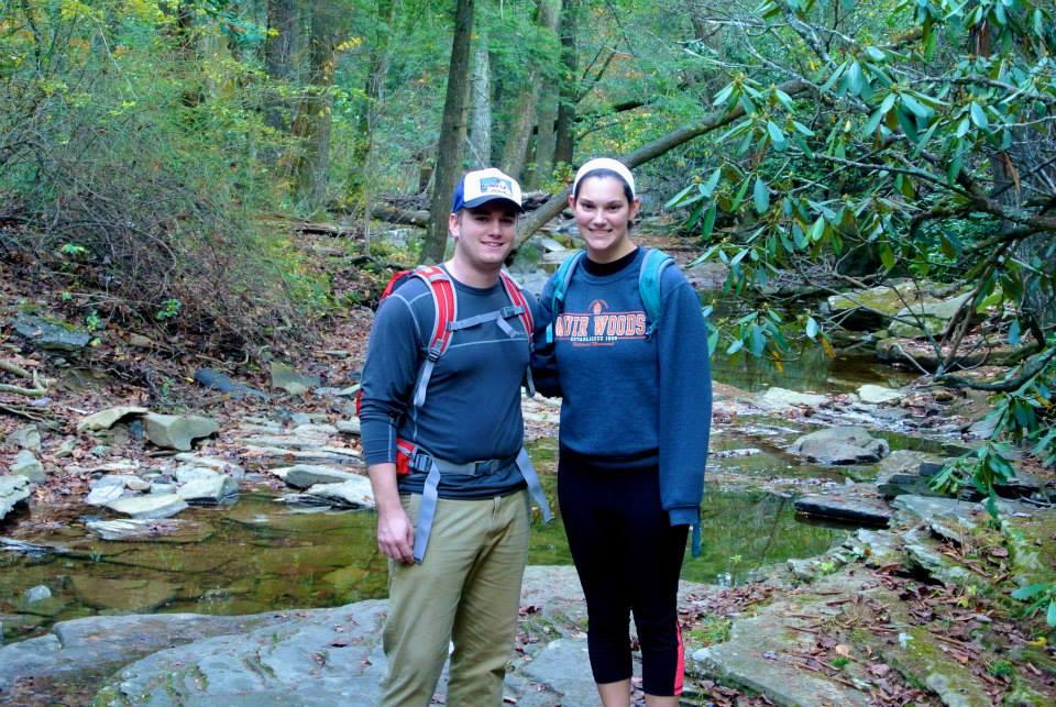 Hiking at a Waterfall