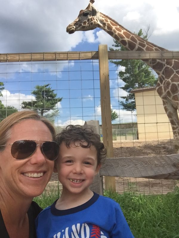 Checking Out the Giraffes at the Zoo