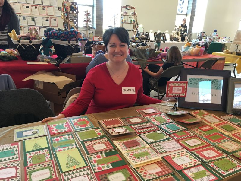 Liz Selling Her Hand-Crafted Greeting Cards