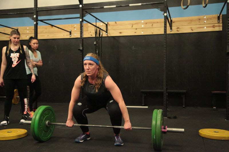 Lisa Getting Ready for a Big Lift in the Crossfit Open