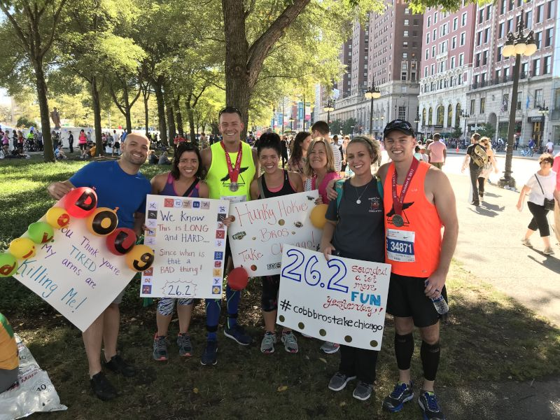 With Friends & Family After the Chicago Marathon