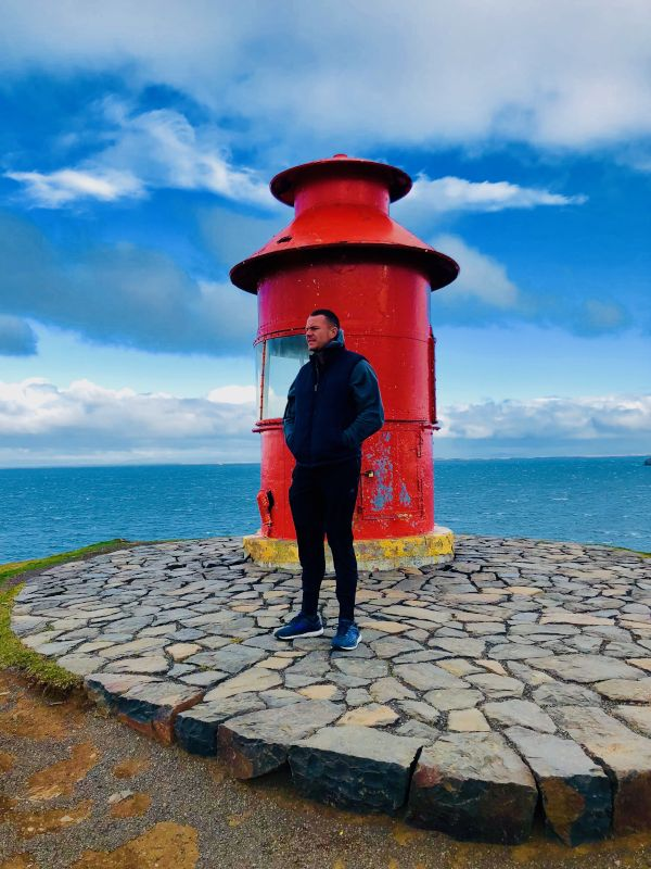 Doug at the Akrienes Lighthouse in Iceland
