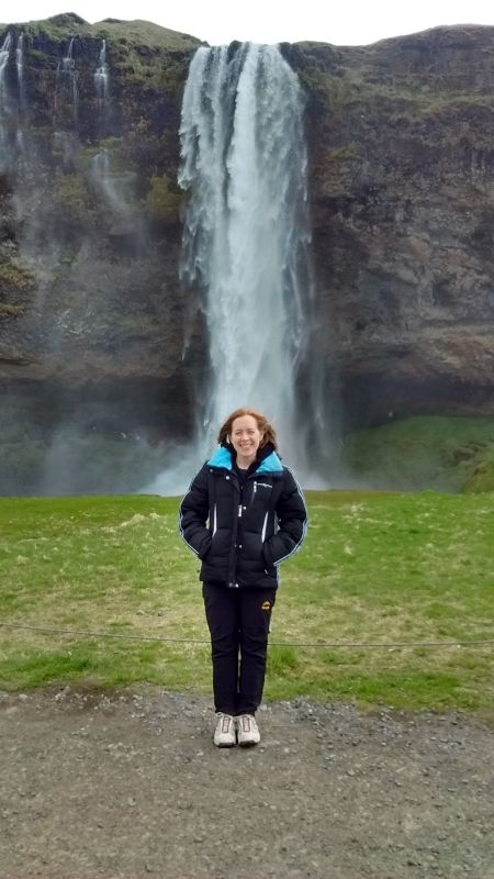 At a Beautiful Waterfall in Iceland