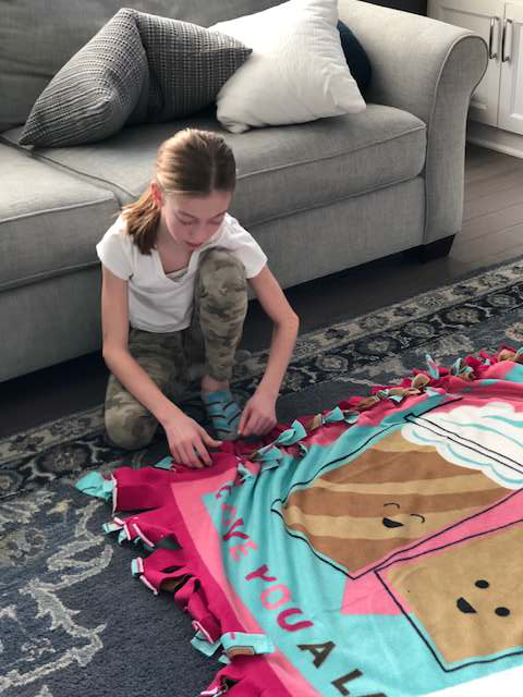 Making Blankets to Donate to the Homeless