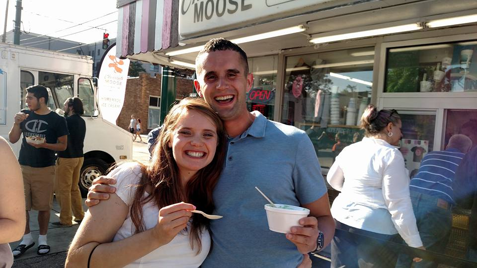 Eating Ice Cream at a Market