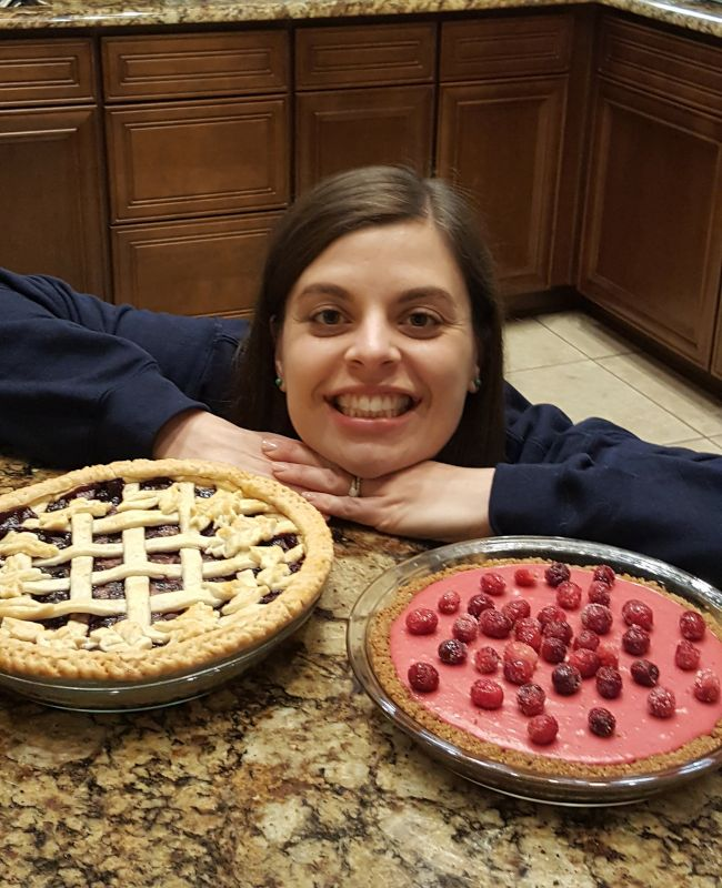 Melanie Proudly Displaying Her Baked Creations