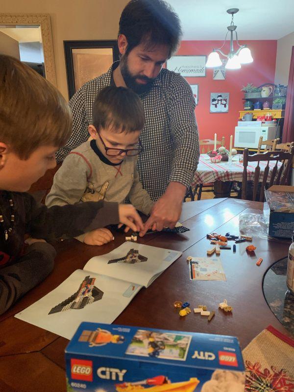Dan Helping the Next Generation, Nolan & a Cousin, Build Legos