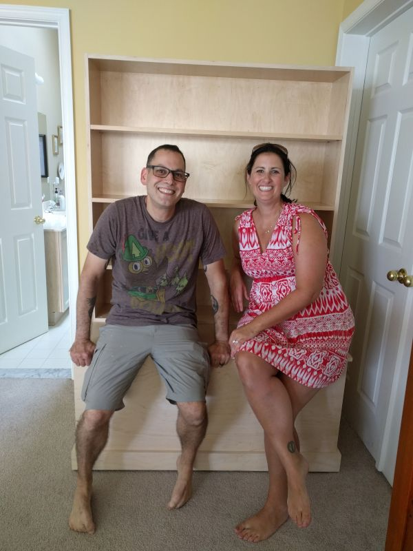 Pete With a Friend & the Bookshelf He Built for Her Daughter