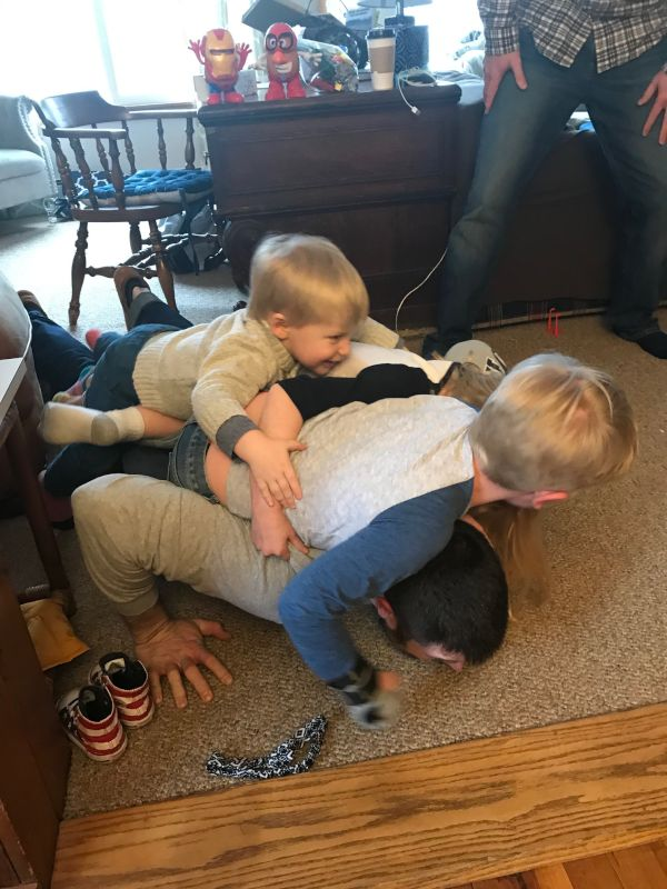Sean Working on His Push-Ups With Some Help From Our Friends Sons