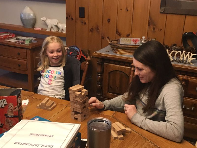 Mari Playing Jenga With a Friend's Daughter