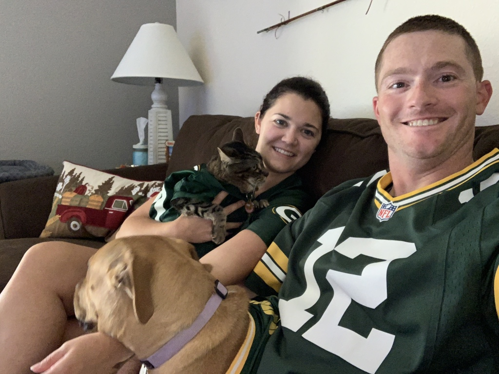 Cheering on the Green Bay Packers