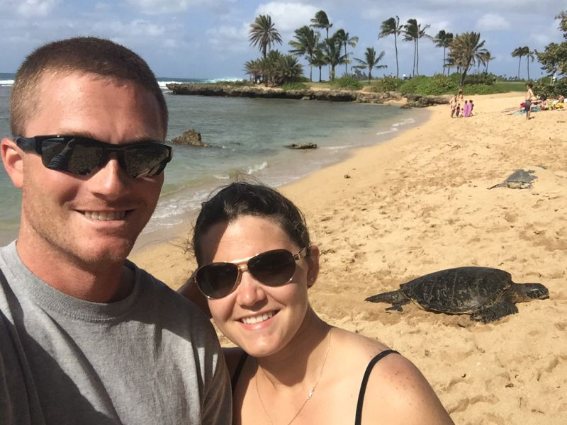 At the Beach With a Sea Turtle