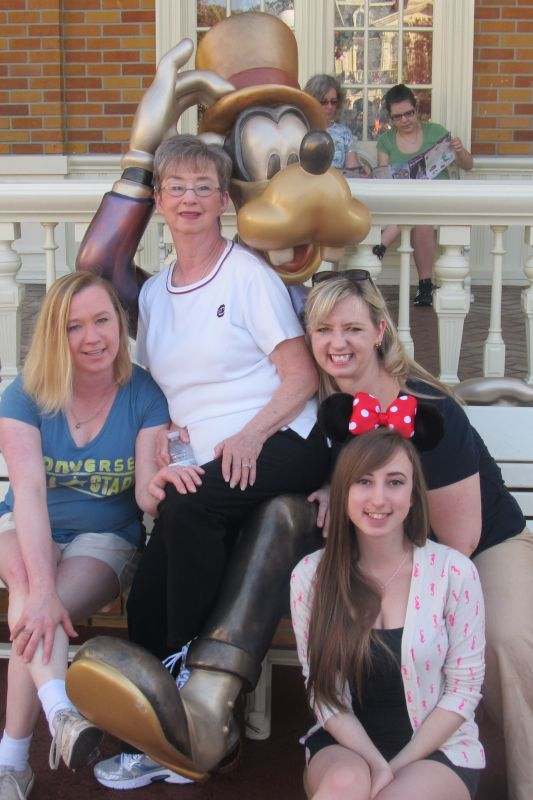 At Disneyland with Her Mom, Sister & Niece