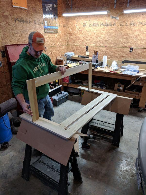 Steve Building Bed Rails for Joshua's Toddler Bed