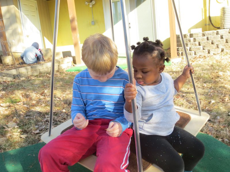 Inspecting Leaves While Sharing the Swing