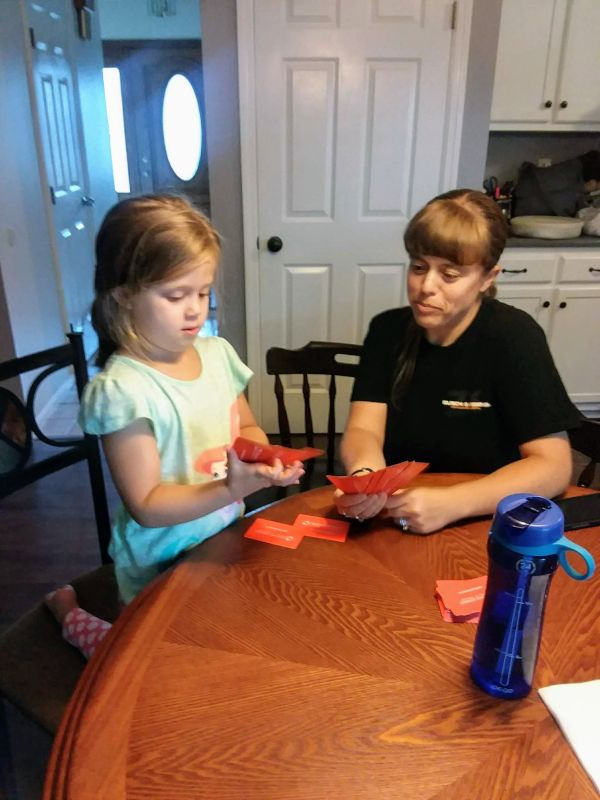 Ashley Doing Math Flash Cards With Our Niece