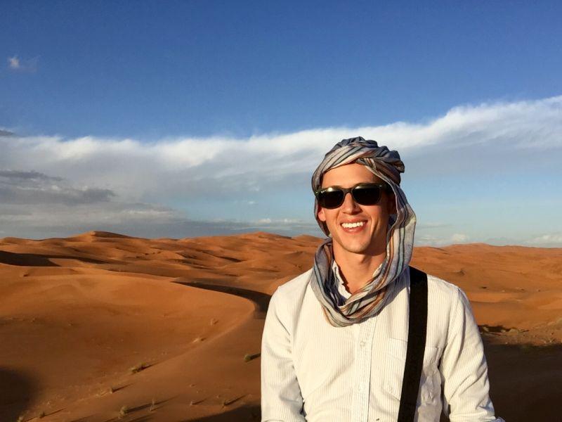 Josh in the Sahara Desert in Morocco