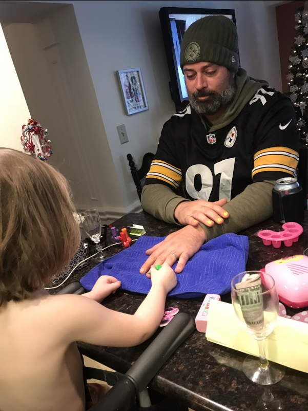 Uncle Ryan Getting a Manicure from Niece Charly
