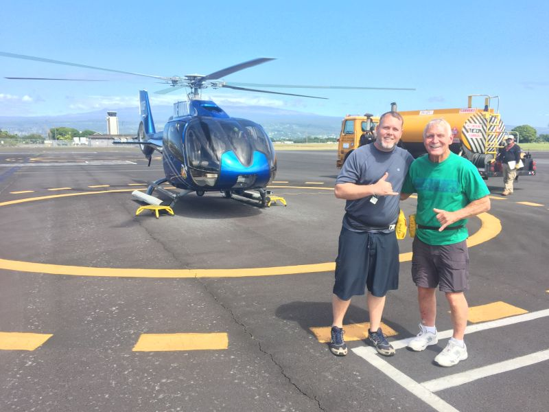 Adam and His Dad Getting Ready for Their Helicopter Tour