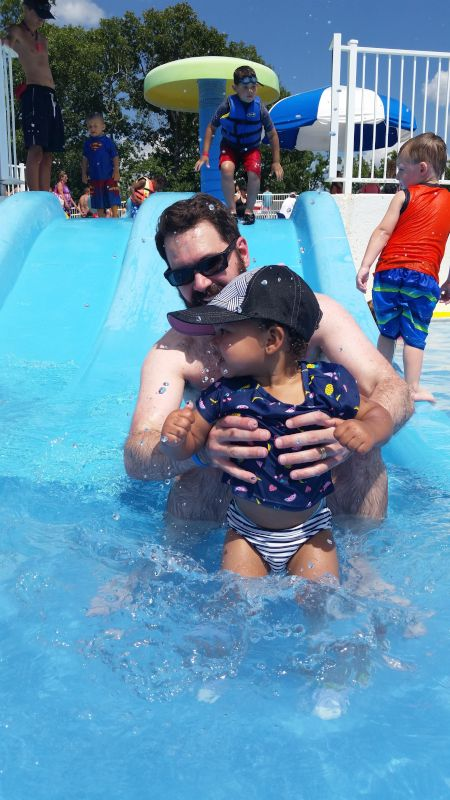 Fun on the Waterslide With Daddy