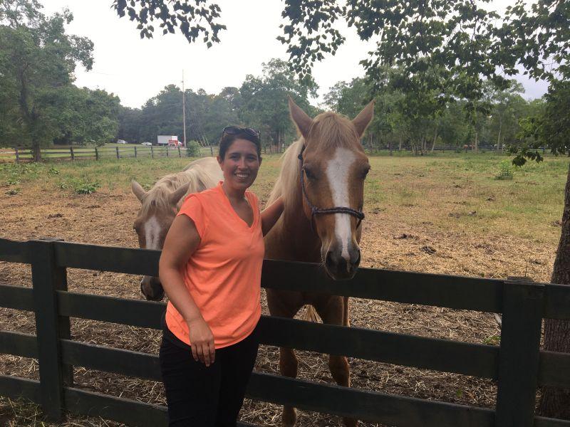 Elizabeth Petting the Horses