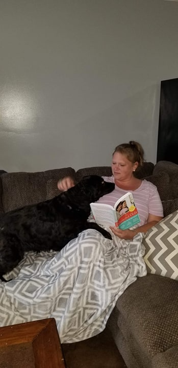 Reading a Book With Our Spoiled Pup, Lizzi