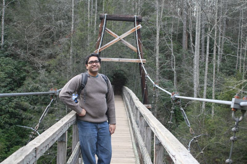 On a Swinging Bridge in Georgia