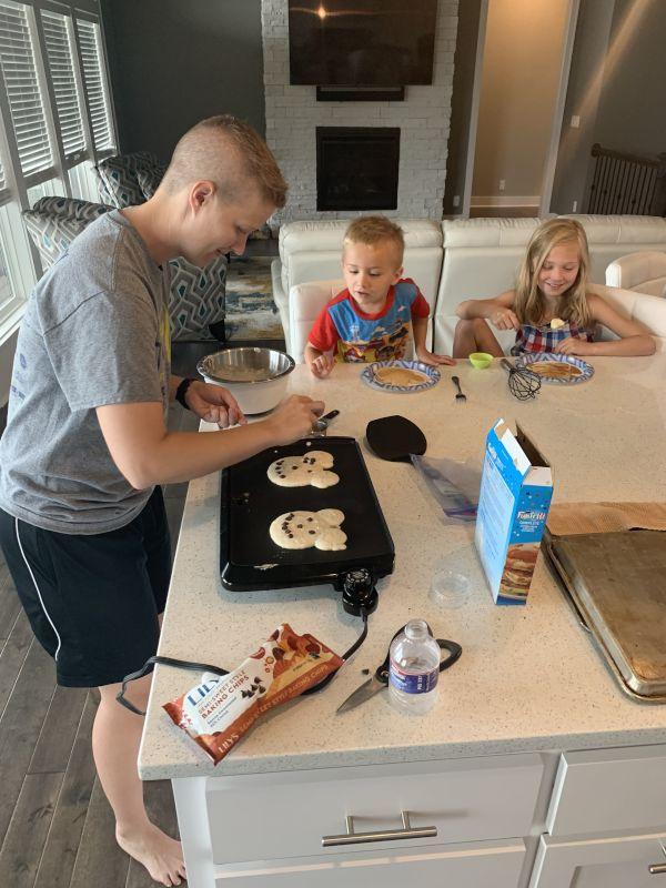 Krista Making Pancakes With Our Niece & Nephew