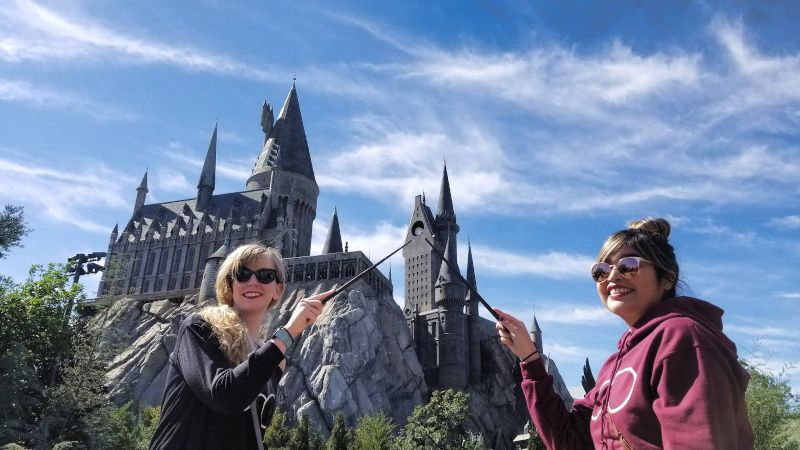 Liz at Harry Potter World with a Friend