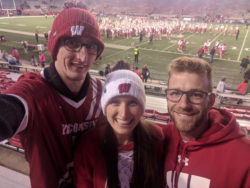 Cheering on the Badgers with Alyssa's Brother