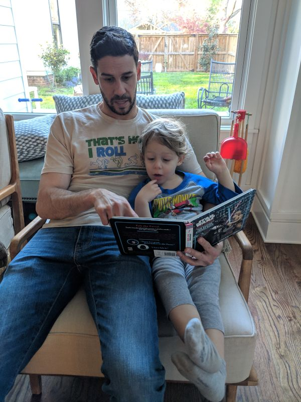 Justin and Theo Reading Books