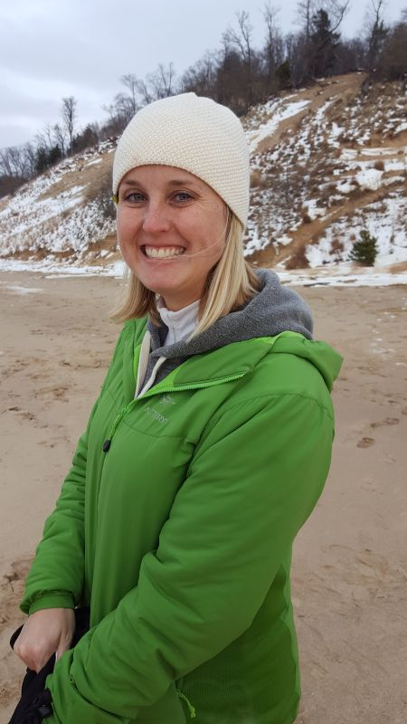 Sarah Going for a Winter Hike Along the Lake Shore