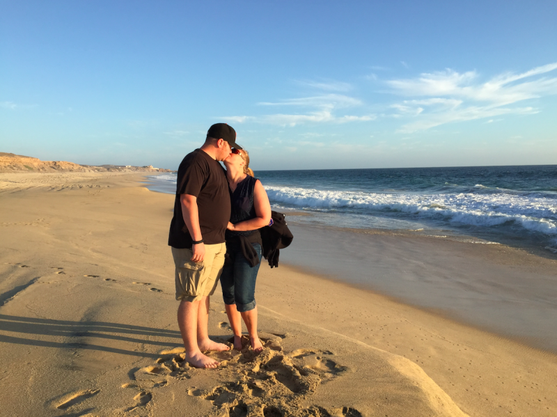 Caught Stealing a Kiss on the Beach in Cabo
