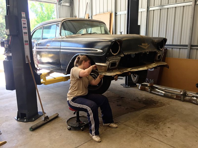 Chelsea Wrenching on Her '56 Bel Air
