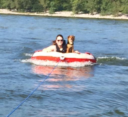 Tubing at the Lake With Our Friend's Puppy