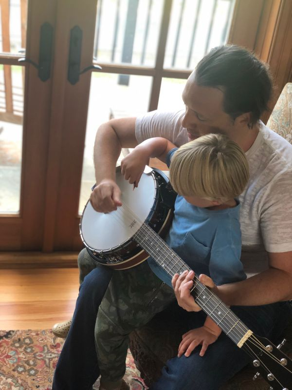 Working on Banjo Skills with Our Nephew
