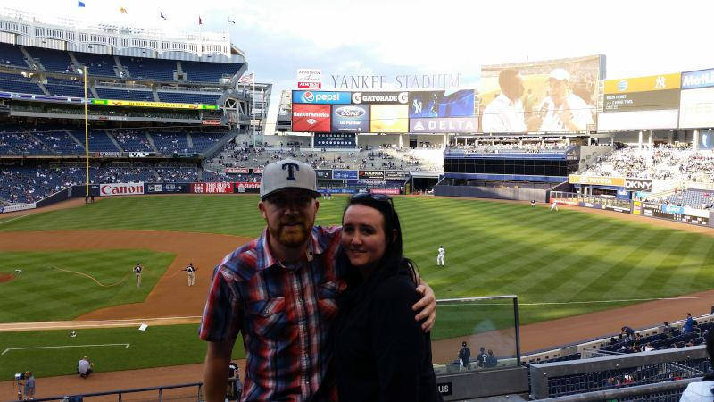 Cheering for the Rangers at Yankee Stadium