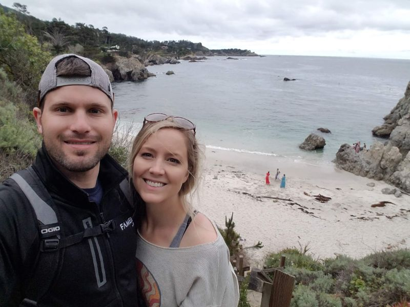 Stopping Along a Beach While Hiking in California