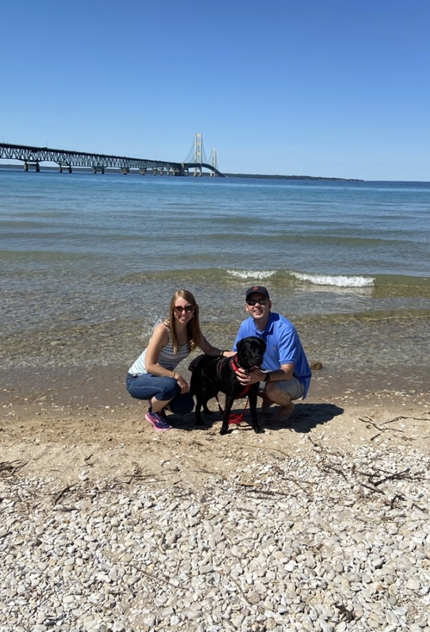 Stopping for a Photo by the Mackinac Bridge