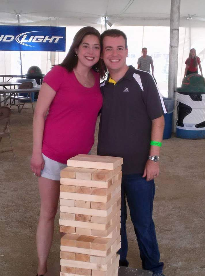 Playing Jenga at the County Fair