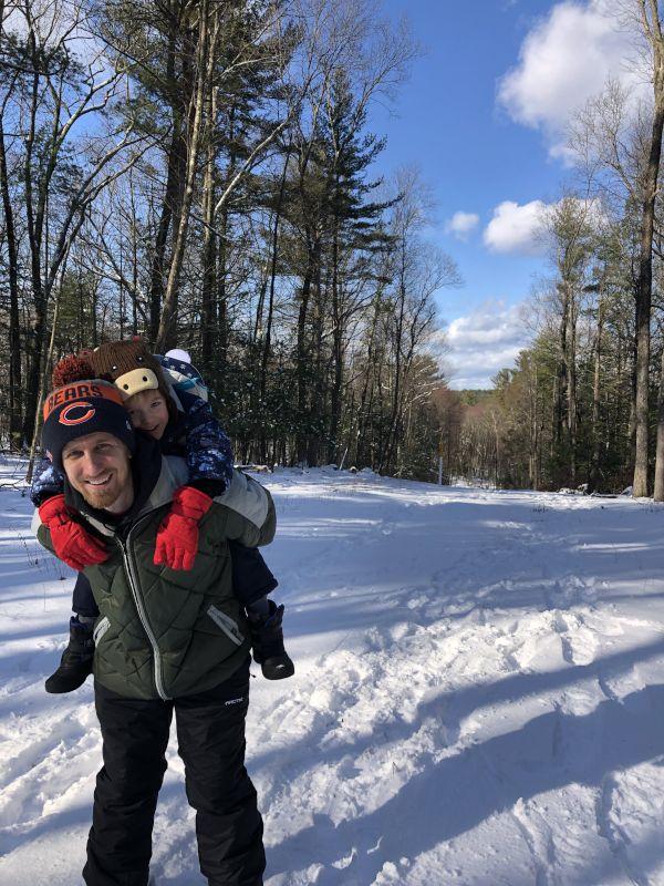Piggyback Ride Through the Winter Wonderland!