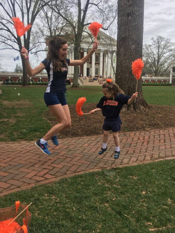 Cheering on the University of Virginia
