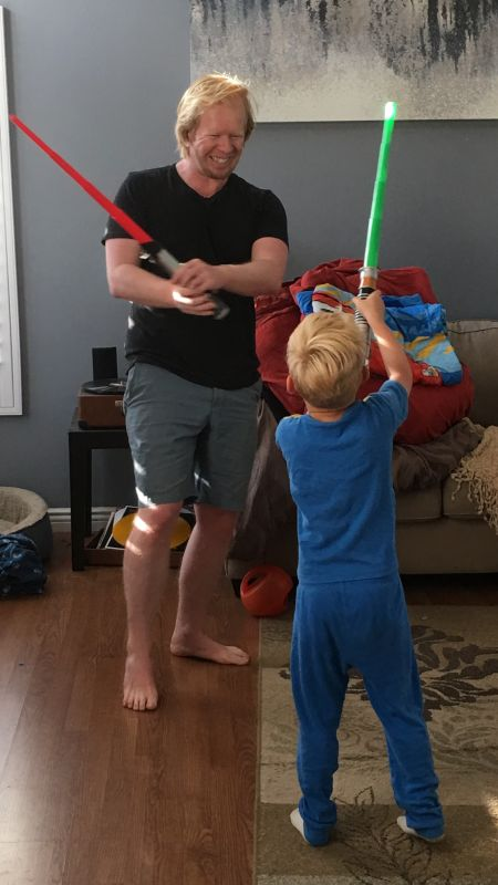 Kevin in an Epic Light Saber Duel With Our Nephew