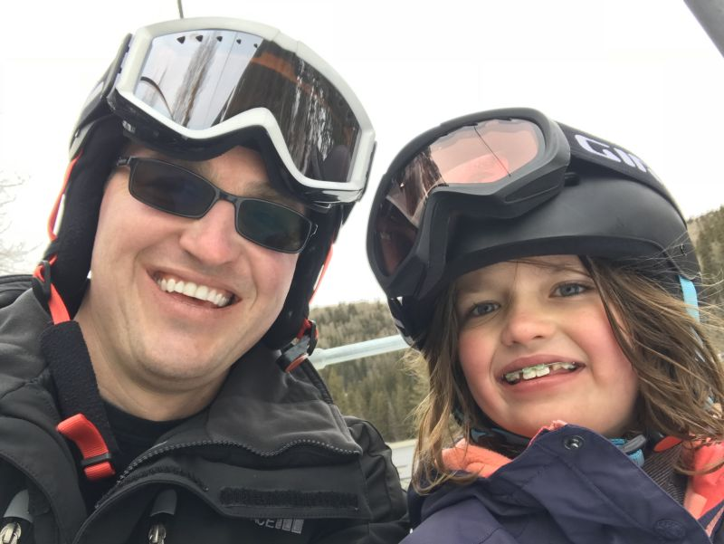 Skiing with Bailey