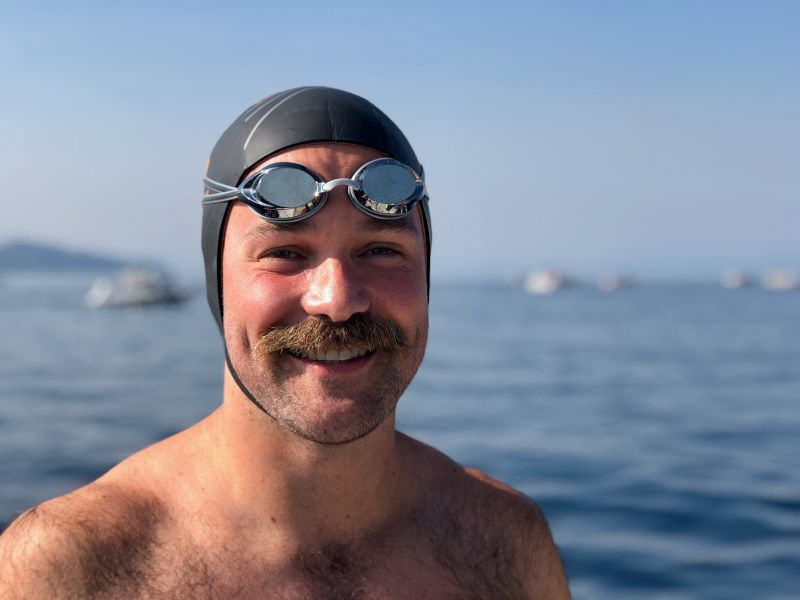Jake Ready for a Swim Race Across the Lake