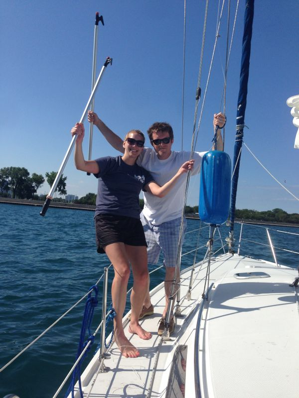 Sailing Lake Michigan on Our Boat