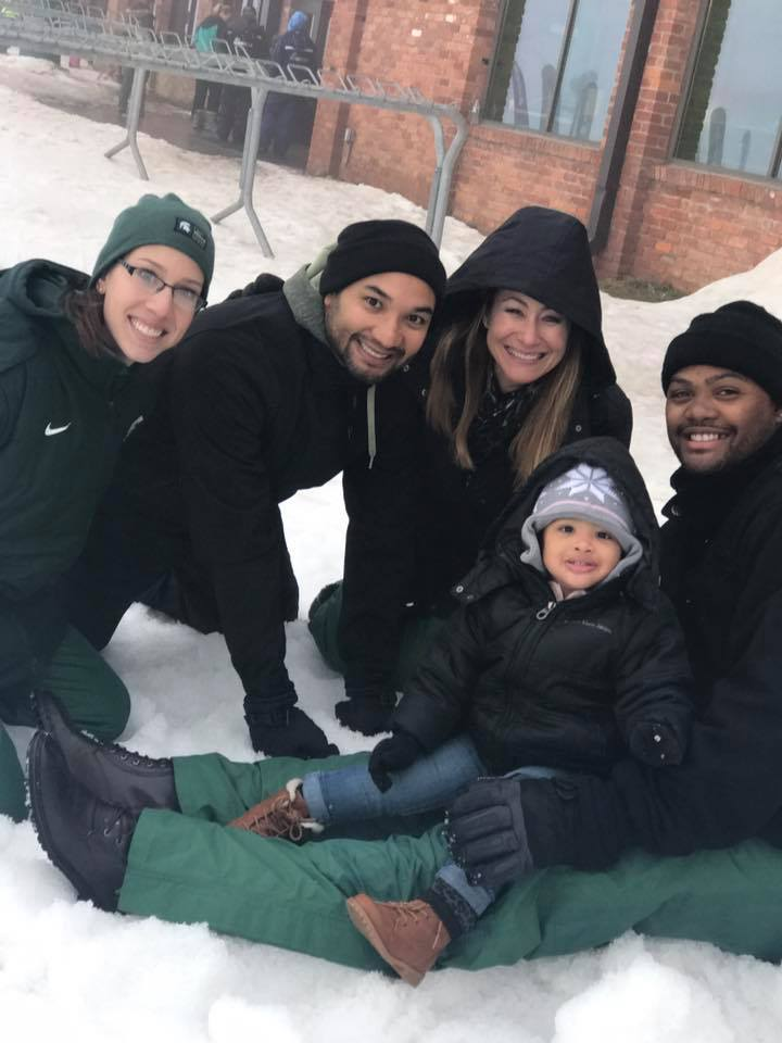 Playing in the Snow With Hammer's Family