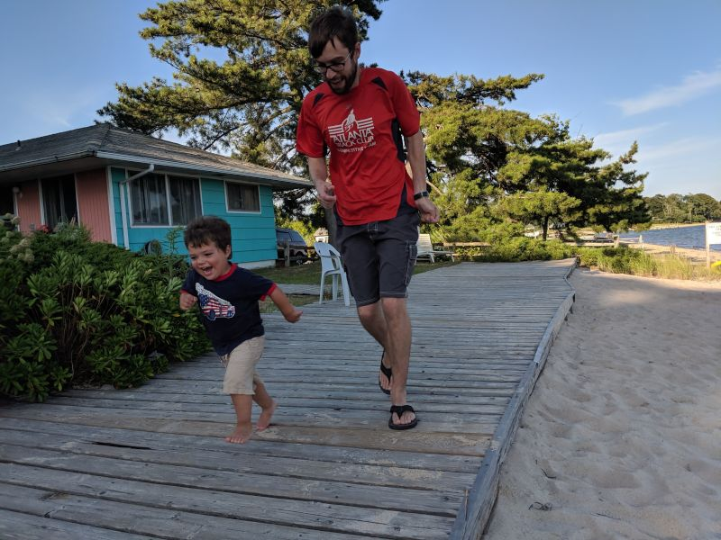 Gregory & Daddy Racing on Vacation