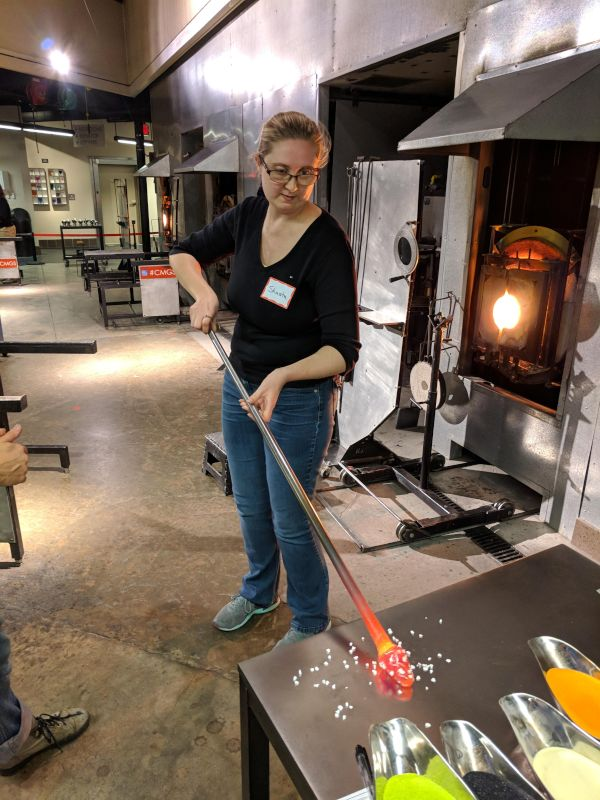 Shasta Glass Blowing a Christmas Ornament